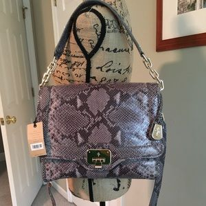 NWT Cole Haan Jenna & Travel Wallet Gray Snake